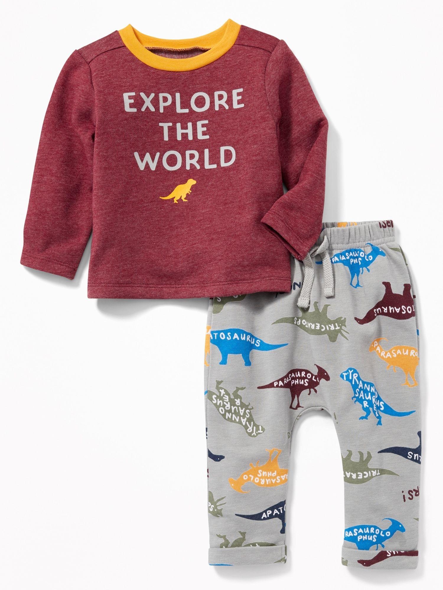 87e2f6f8a Dinosaur-Graphic Sweatshirt and Leggings Set for Baby