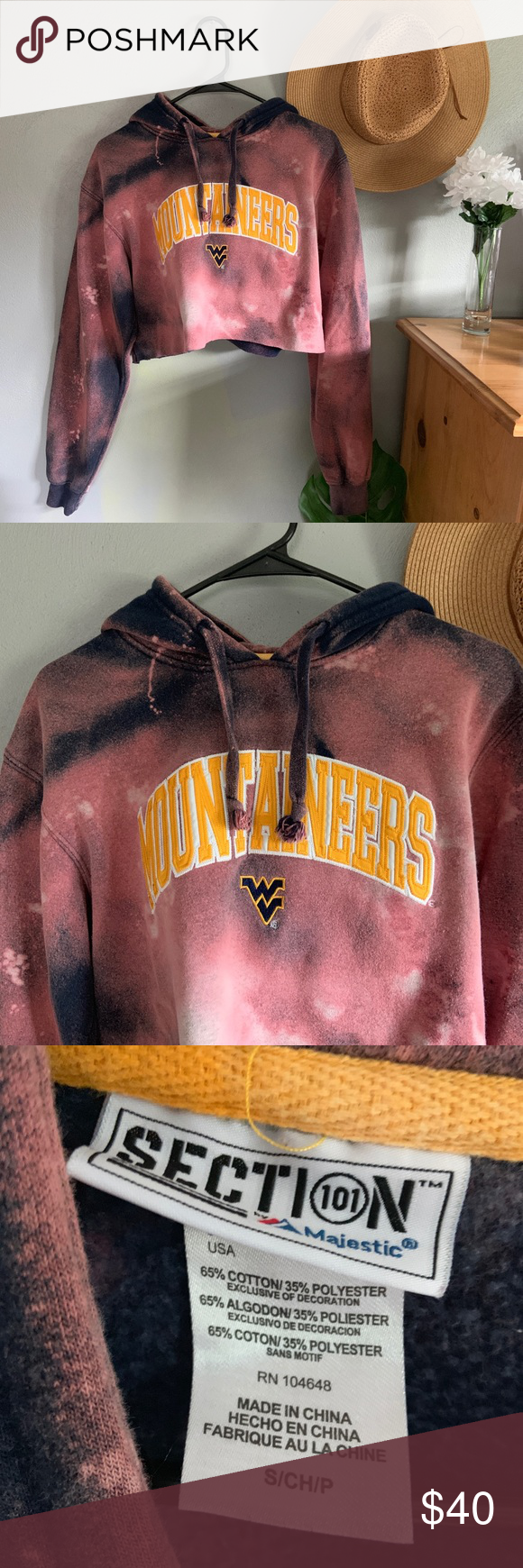 WVU Mountaineers Acid Wash Cropped Hoodie The perfect sweatshirt for game days in Morgantown!  Size small, cropped fit Custom Acid wash / bleached design (kind of has a space dye effect) West Virginia University Mountaineers Super cute trendy style— pairs great with high waisted denim :) Tops Sweatshirts & Hoodies #wvumountaineers WVU Mountaineers Acid Wash Cropped Hoodie The perfect sweatshirt for game days in Morgantown!  Size small, cropped fit Custom Acid wash / bleached design (kind of ha #wvumountaineers