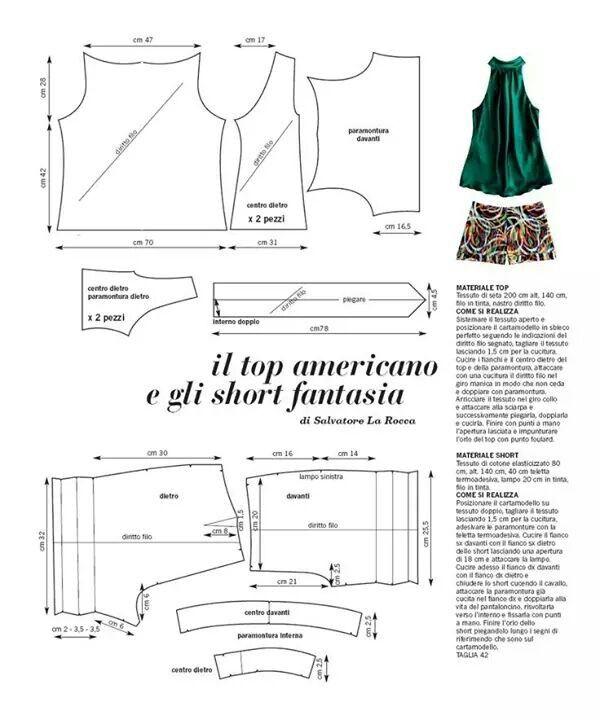 blusa y short | corte | Pinterest | Blusas, Camisas y Camisetas