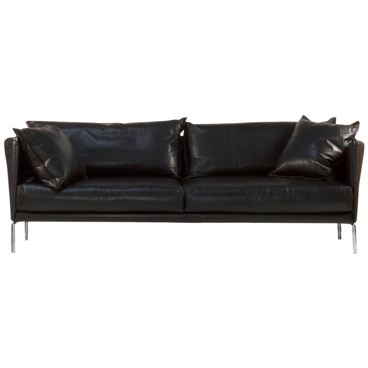 Moroso Black Leather Gentry Two-Seat Sofa by Patricia ...