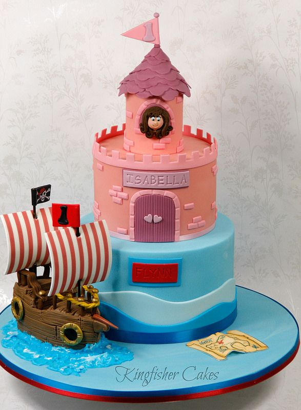 Remarkable Princess And Pirate Cake With Images Pirate Cake Childrens Funny Birthday Cards Online Kookostrdamsfinfo