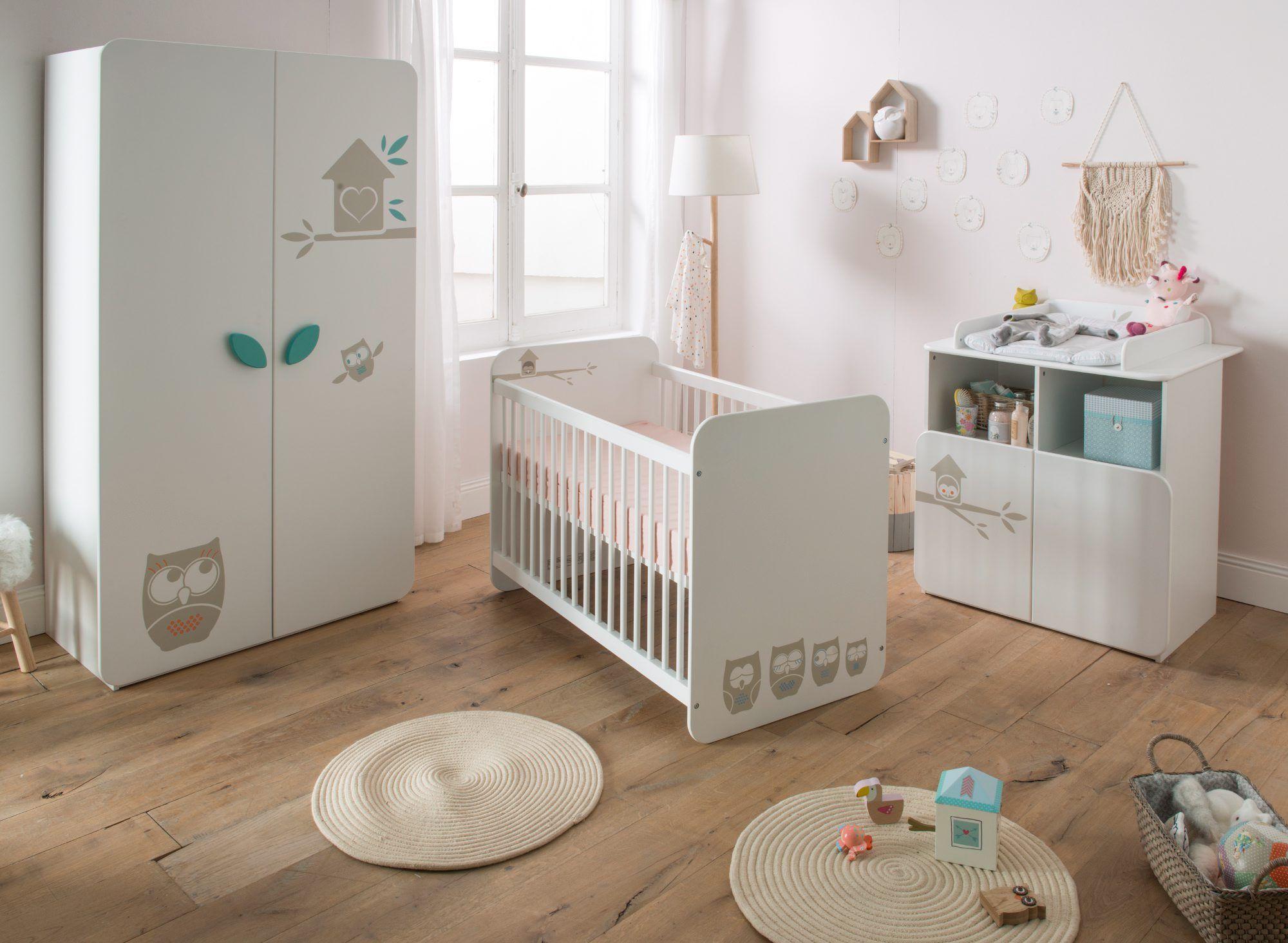 Lit bébé 60X120 cm HIBOUX Blanc | Hiboux blancs, Lit bebe et Bébé lits