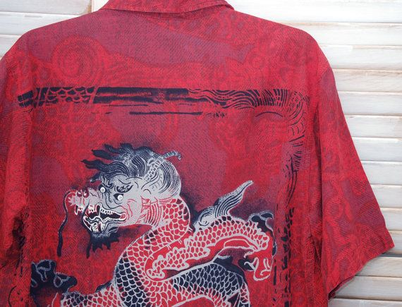 Vintage 90s Shirt, Mens Shirt, Red Shirt with Dragon, Asian Style, Short Sleeved, Rocker Shirt, Grunge Shirt, Asian Shirt, Cotton, Rayon