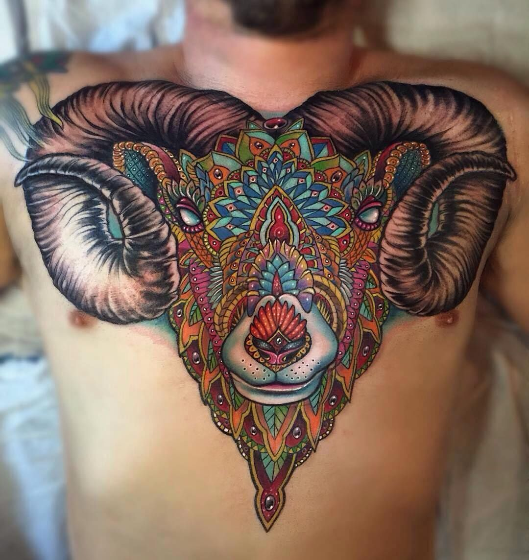 Such A Gorgeous Rams Head Tattoo By The Awesome Johnnysmithart Who Is Always Inspiring Us With His Paintings And Ta Aries Tattoo Chest Piece Tattoos Tattoos