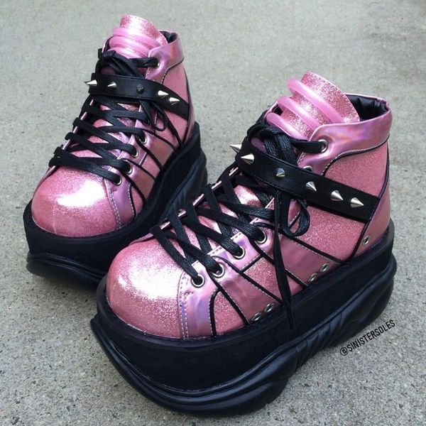 1473818860e NEPTUNE-100 Pink Cyber Goth Platform Shoes by Demonia. Black veggie leather  calf boots with six buckle straps and platform heel. Demonia NEPTUNE-100  Black ...