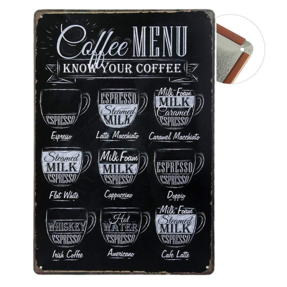 Plaque Métal décorative 16x16cm Coffee Menu  Menu café, Café