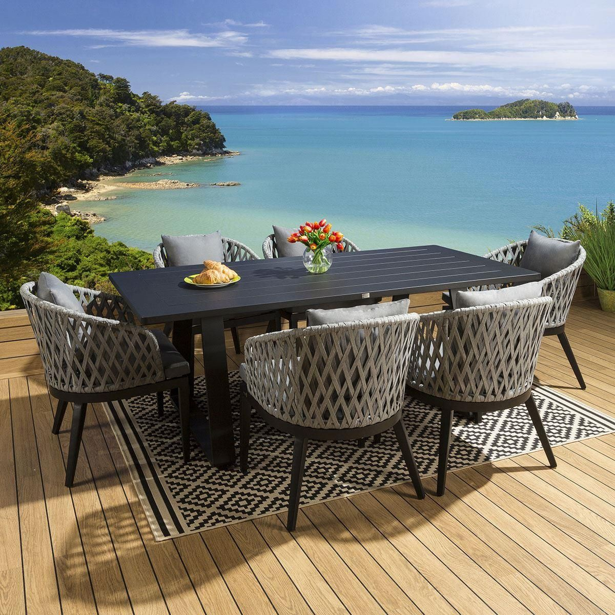 Large Garden Rectangular Alum Dining Set Table 7 Rope Chairs Black