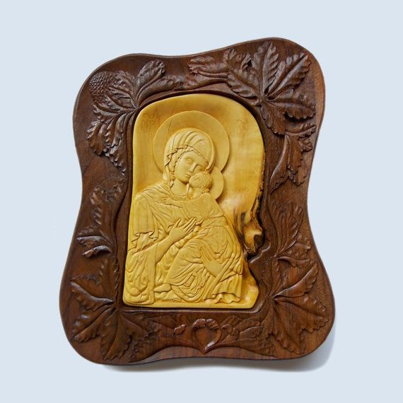 Wall art wood carving, Virgin Mary and Jesus, Orthodox Christian ...