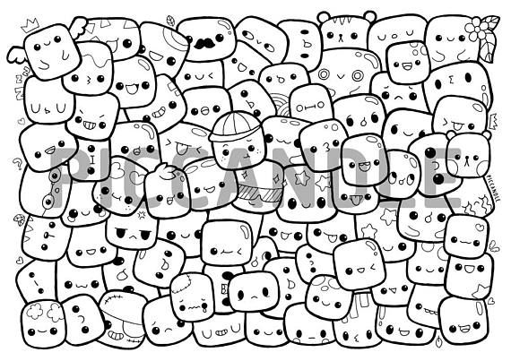 cute marshmallow coloring pages | Marshmallows Doodle Coloring Page Printable | Cute/Kawaii ...