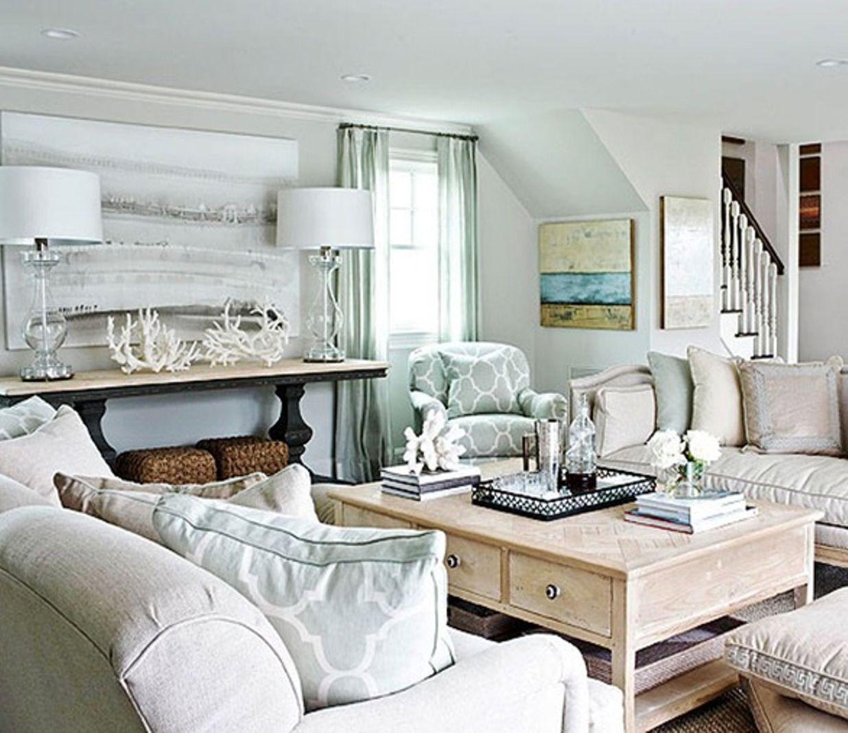 Coastal light blue and neutral beach house living room | Beach ...