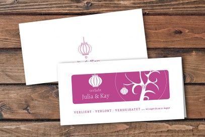 Einladungskarte Design Verliebt Verlobt Verheiratet | Version 1 DIN Lang  Querformat 4 Seiter #Hochzeitskarten