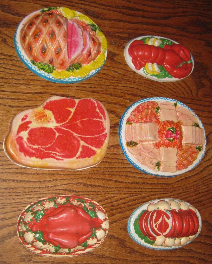 6 vintage plastic toy food pretend play fake meat lobster
