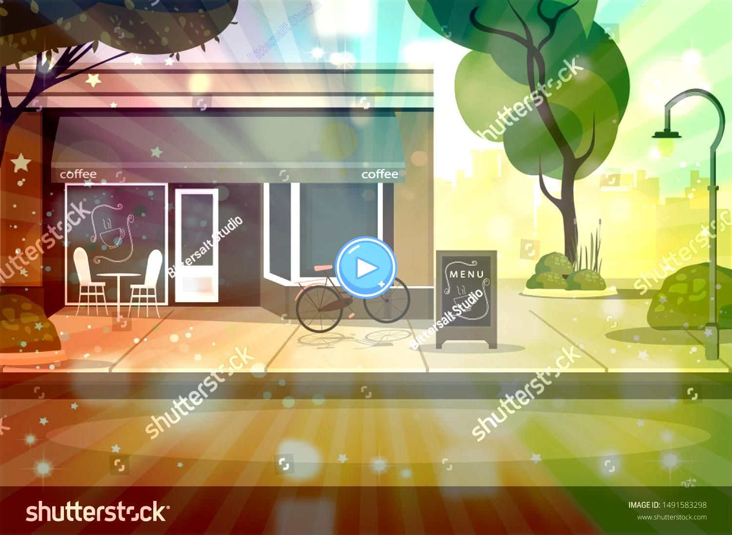Shop Building Illustration Central Cafe Building with Element for Construction of Urban Landscape Flat Cartoon Vector Illustration in Colored Style  Vector Coffee Shop Bu...