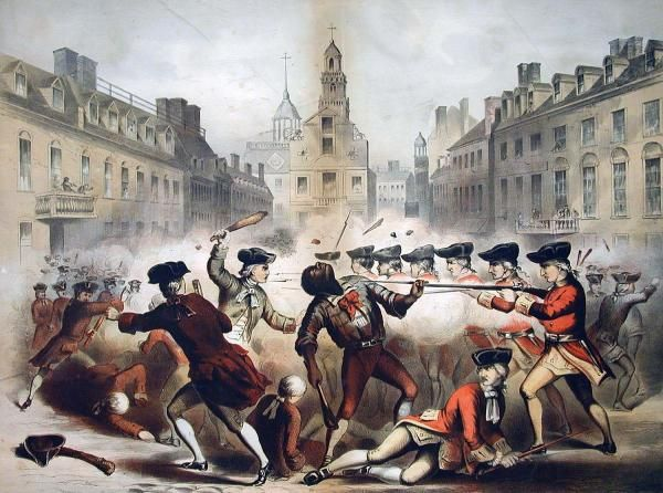On this day in 1770 - Boston Massacre (or the Incident on King Street), British soldiers kill 5 men in a crowd throwing snowballs, stones, and sticks at them. Galvanized anti-British…