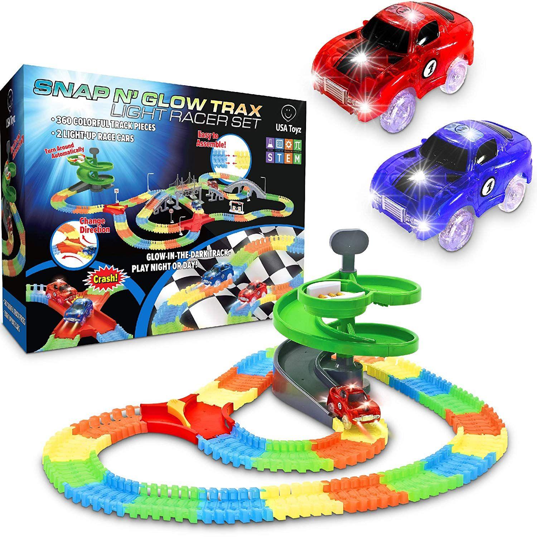 Amazon Com Glow Race Tracks For Boys 360pk Light Up Snap N Glow In The Dark Magic Rainbow Race Tracks For Kids W Light Up Toy Car Track Toy Race Car