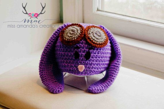 Purple Bunny Hat by MissAmandasCreations on Etsy