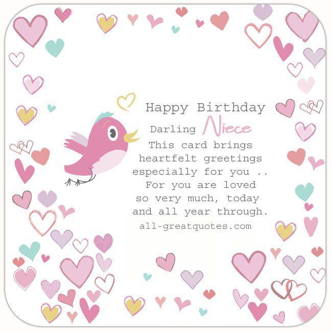 Happy Birthday Darling Niece Birthday Cards For Niece Free Birthday Card Happy Birthday Cards