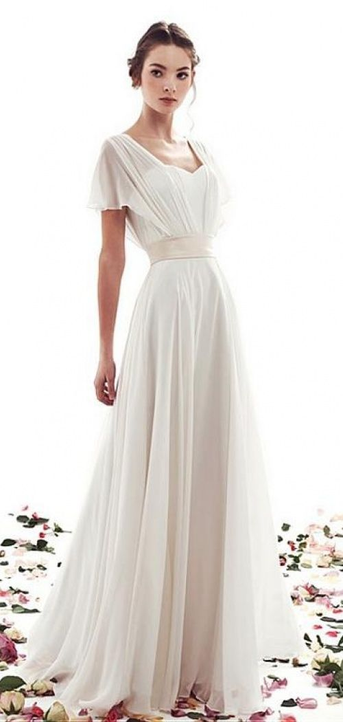 A-line Lace-up Simple Short Sleeves Vintage Wedding Dress ...