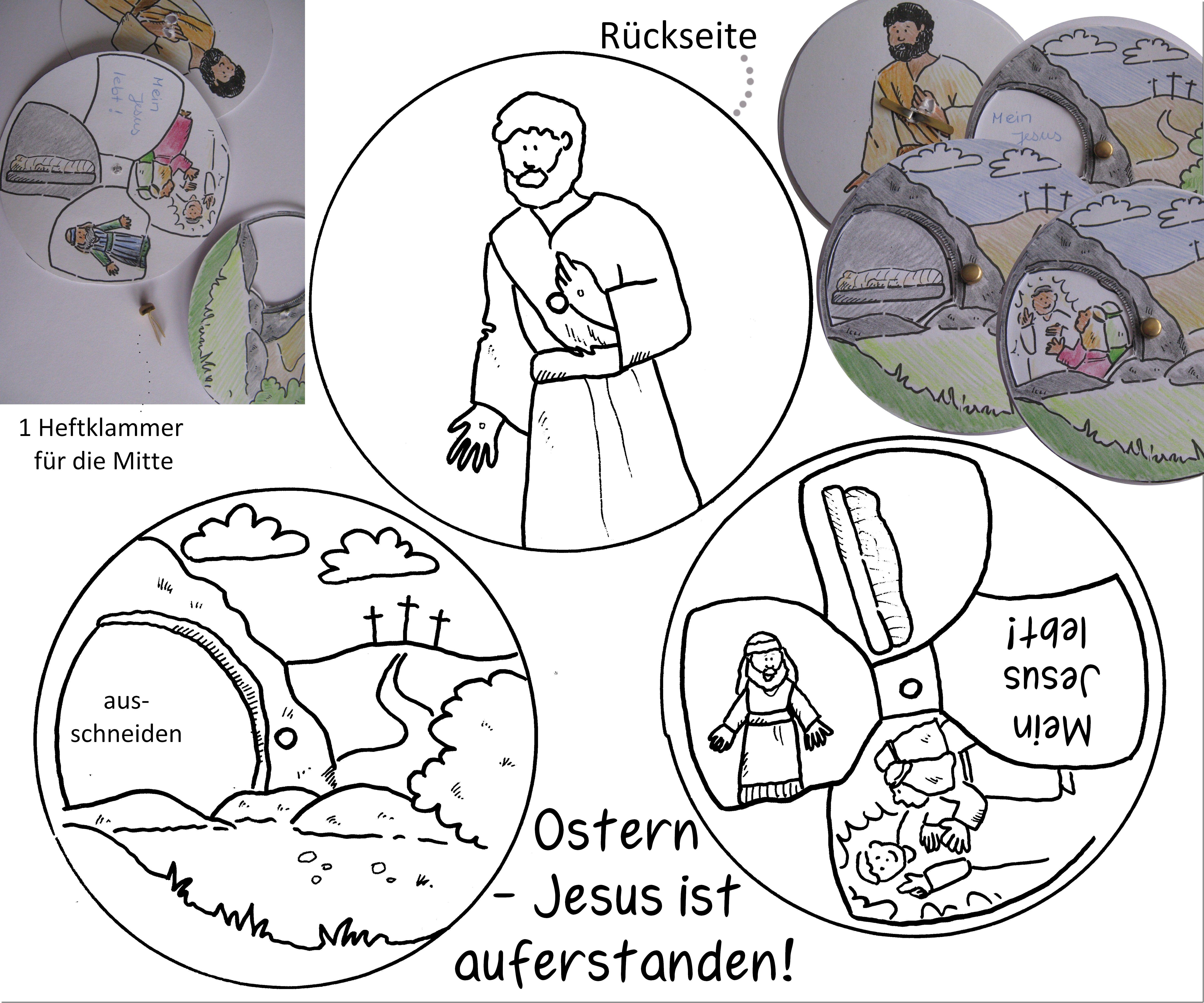 Ostern Auferstehung Jesus lebt! Drehscheibe basteln, Ostergeschichte ...