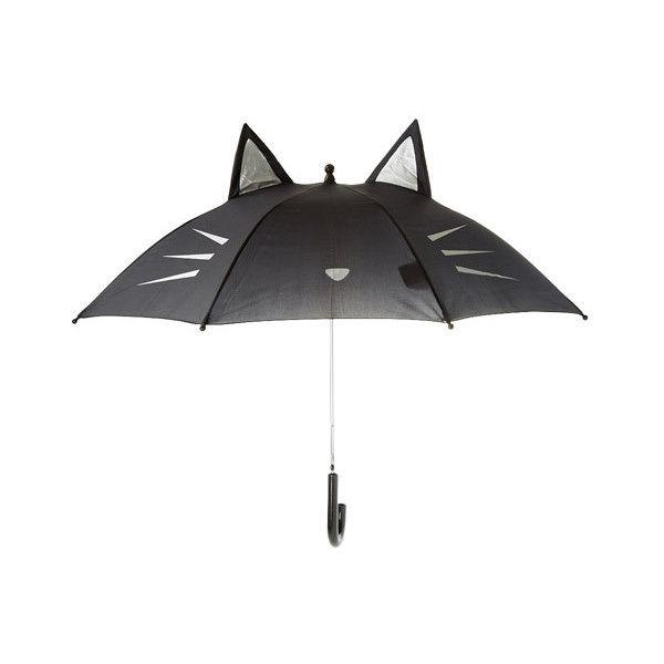 Black Cat Umbrella ($13) ❤ liked on Polyvore featuring accessories, umbrellas, cat umbrella and silver umbrella