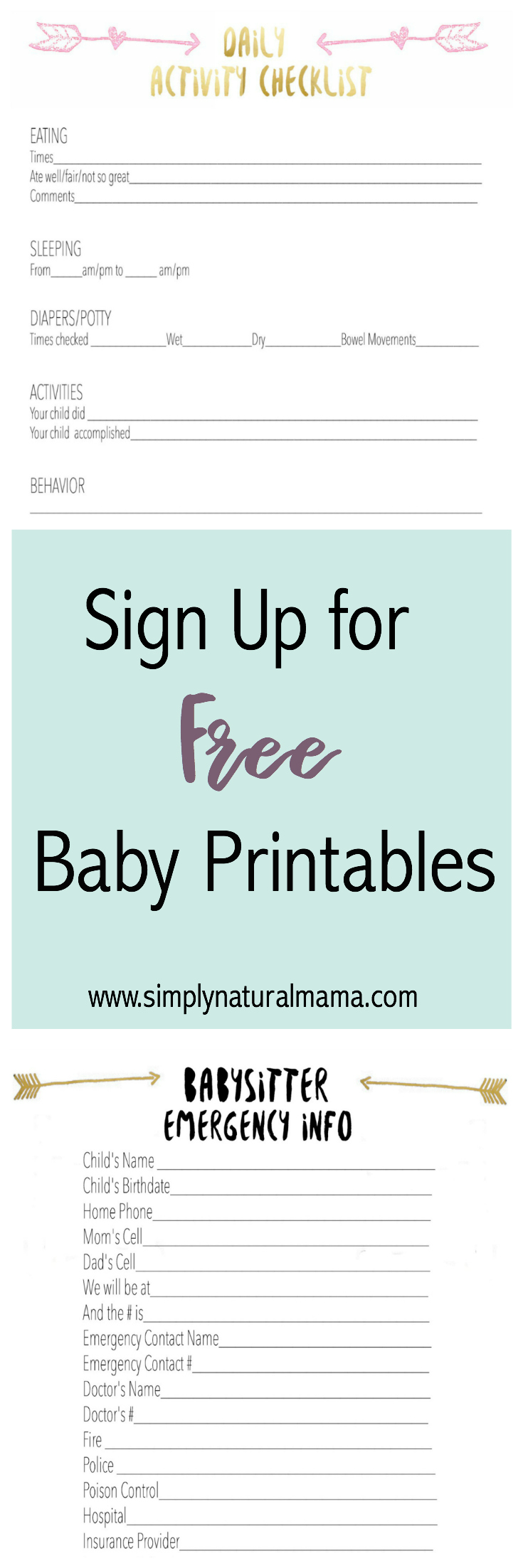 Visit WwwSimplynaturalmamaCom To Sign Up For Two Free Printables