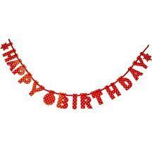 Polka Dots Polka Dots Happy Birthday Banner Red