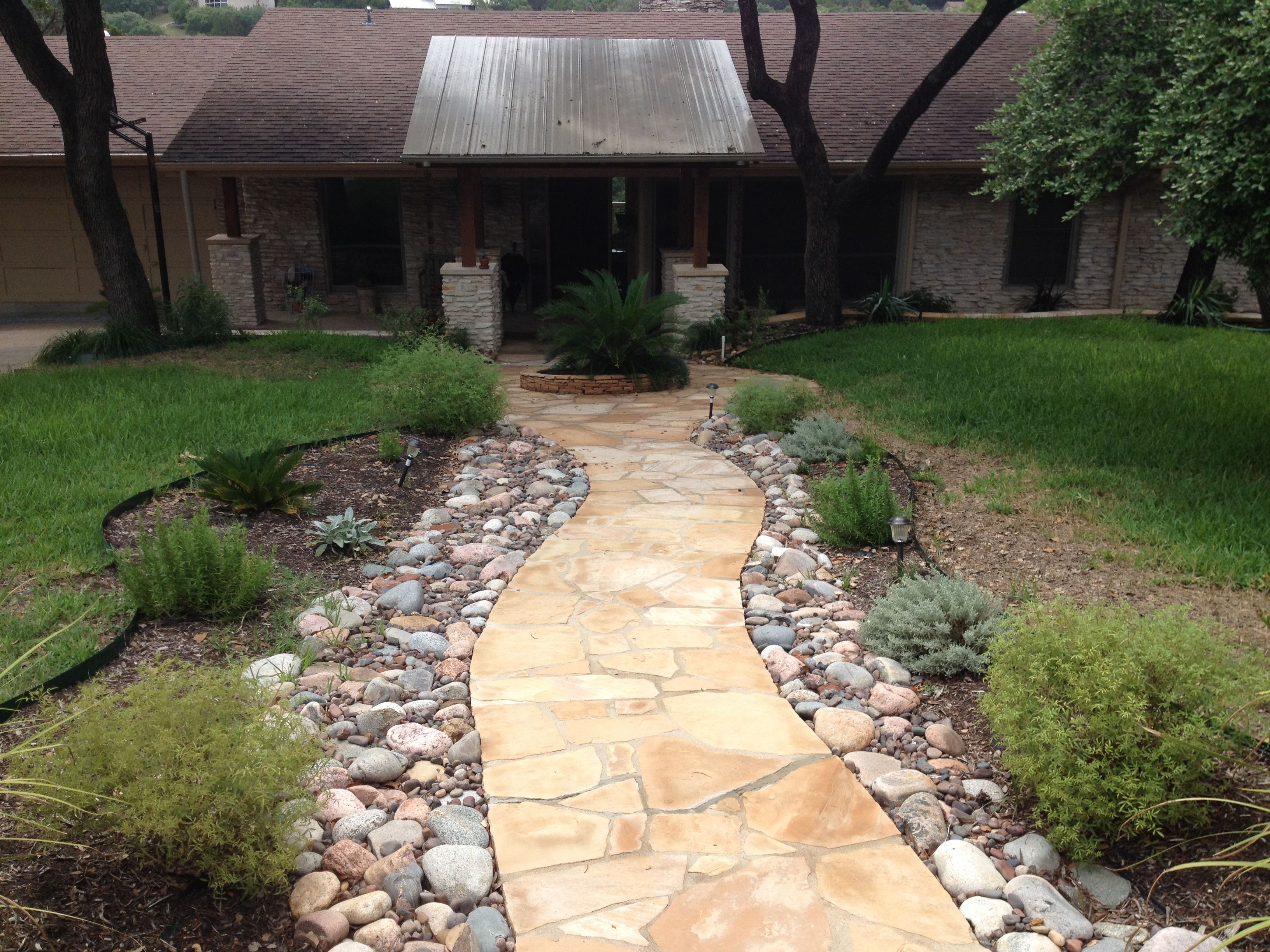 Arizona flagstone walkway with cedar porch cover love for Walkway landscaping