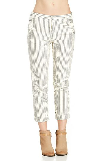 Maison Scotch Relaxed Fit Striped Chino Pants in Ivory XS - L | DAILYLOOK