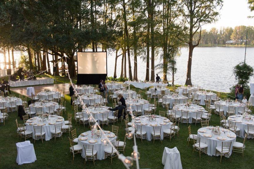 White linens in a backyard wedding / from www ...