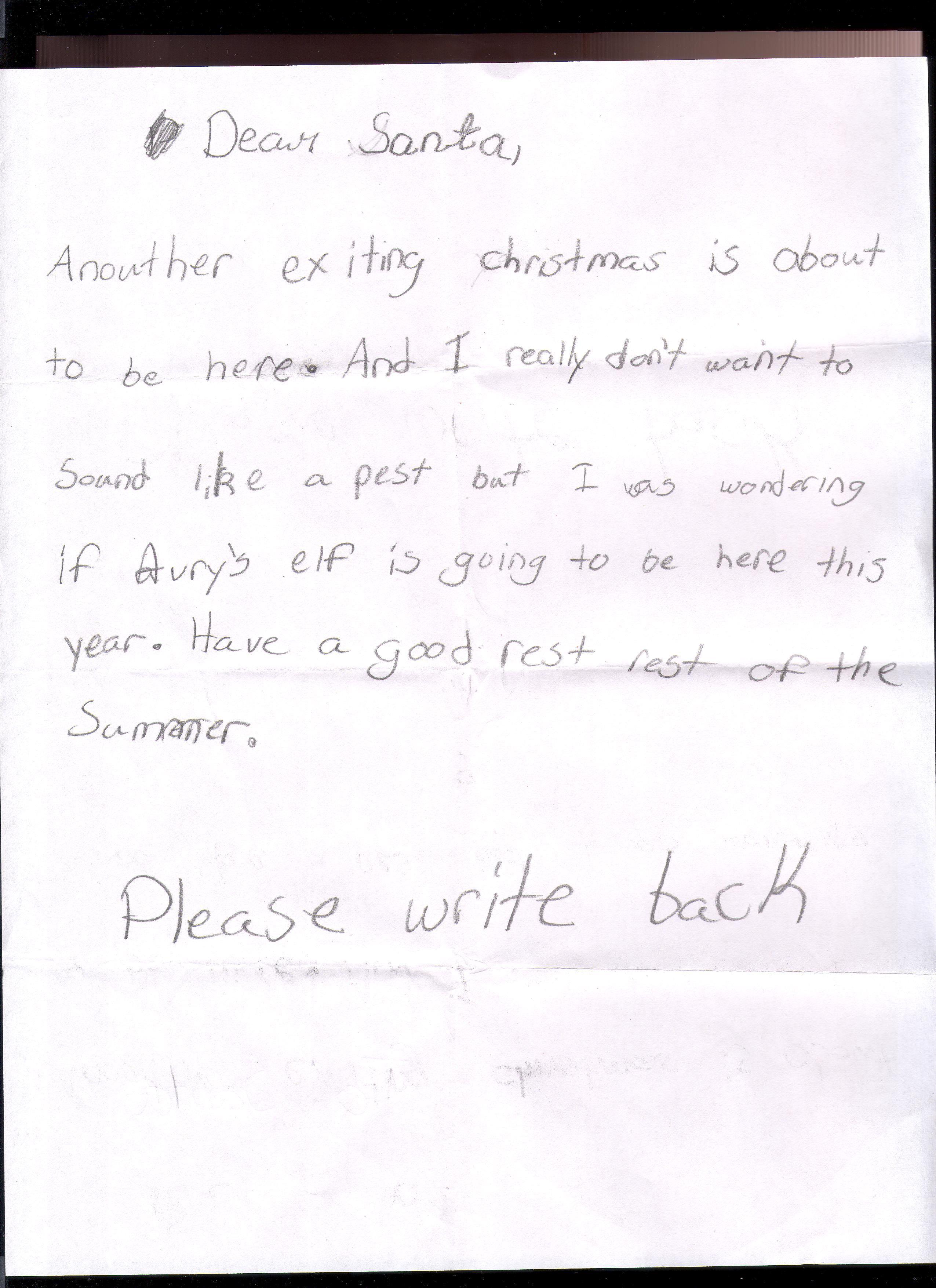 Kyleigh's response to her letter from Santa Lettering, Santa