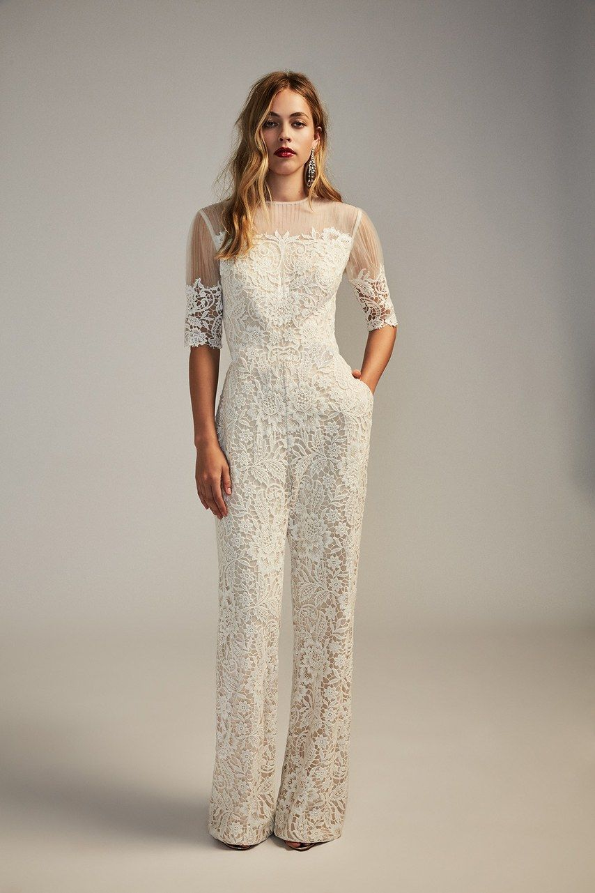 23 Wedding Jumpsuits For Every Budget And Style Wedding Dress Jumpsuit White Jumpsuit Wedding Wedding Dress Sizes