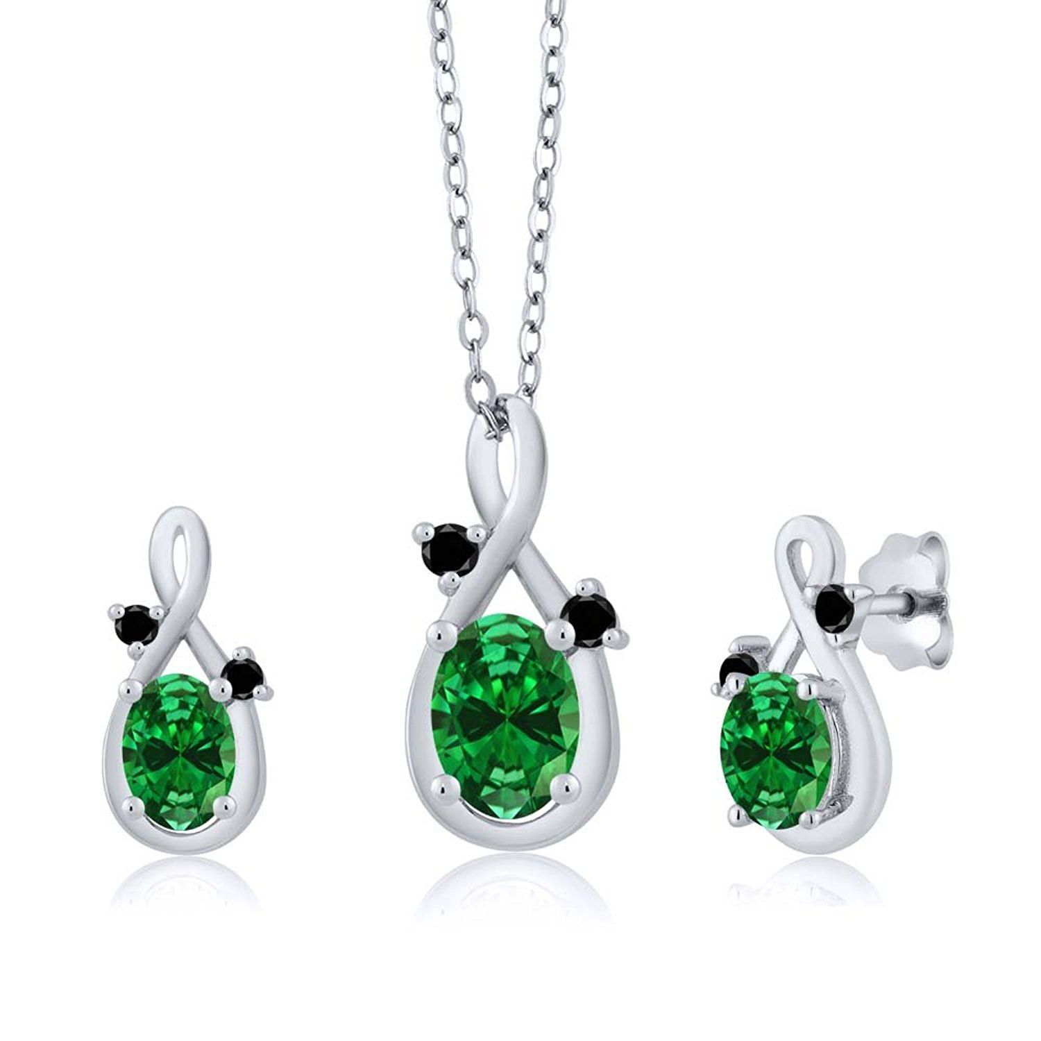 ct oval green simulated emerald k white gold pendant earrings
