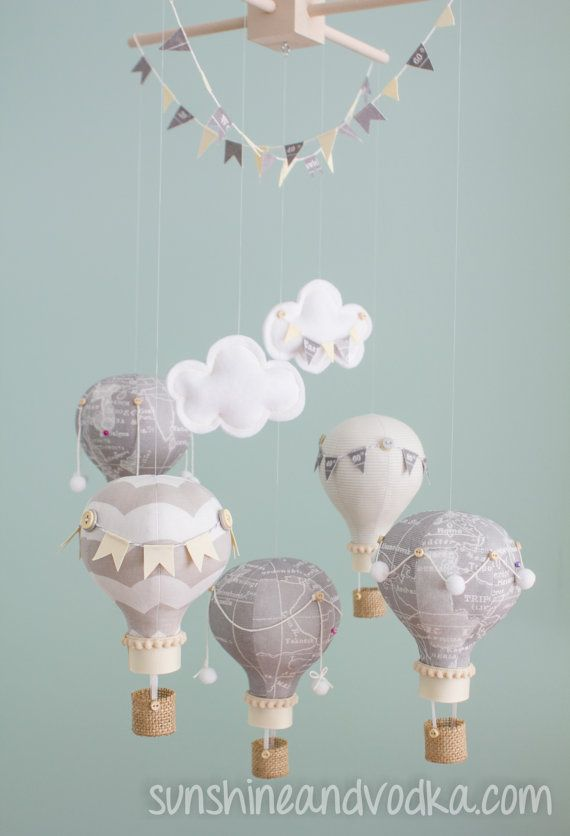 Heirloom Baby Mobile Hot Air Balloon Baby By Sunshineandvodka Balloons Diy Baby Stuff Baby Decor