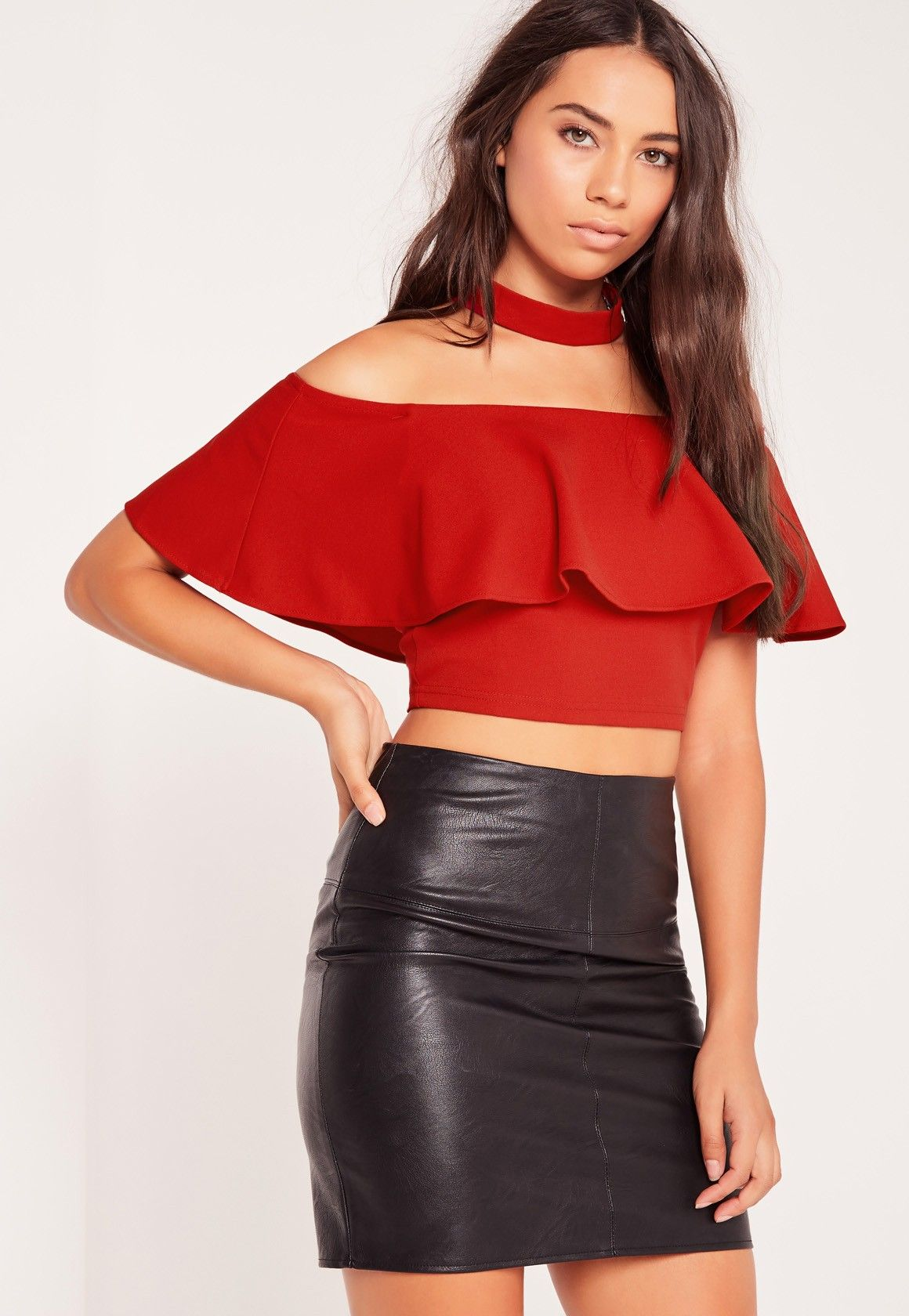 501787a8a88 Missguided - Choker Neck Frill Bardot Crop Top Red | Tops | Bardot ...