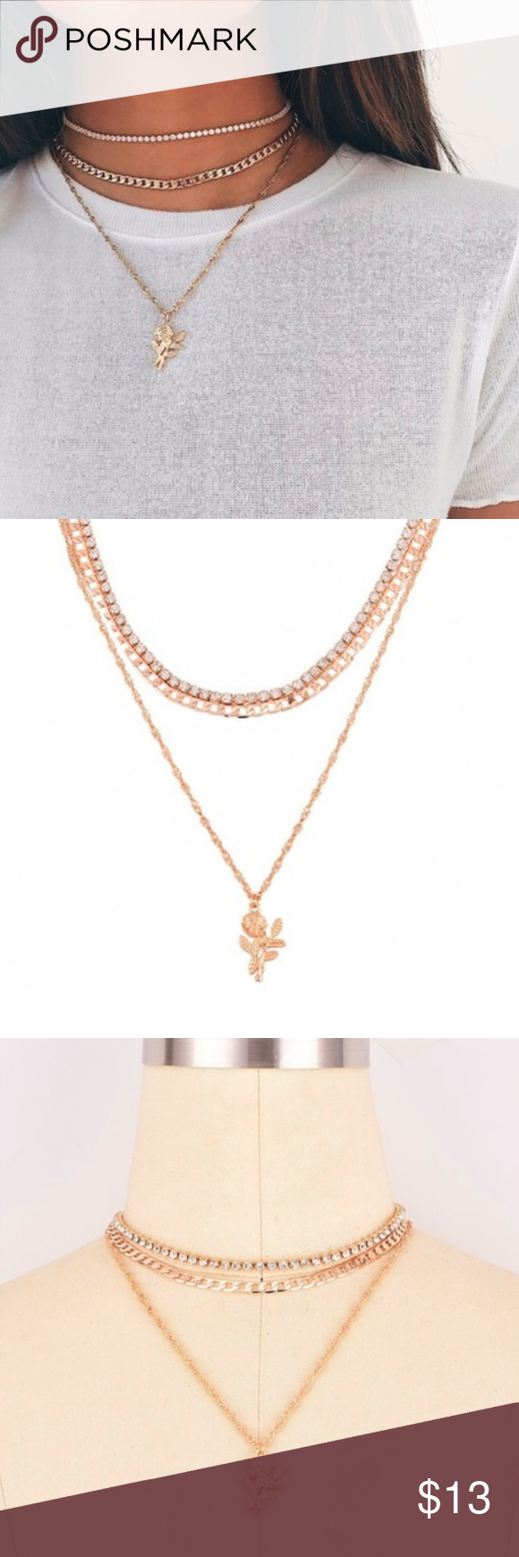 New dainty gold necklace chokers set w rose dainty gold