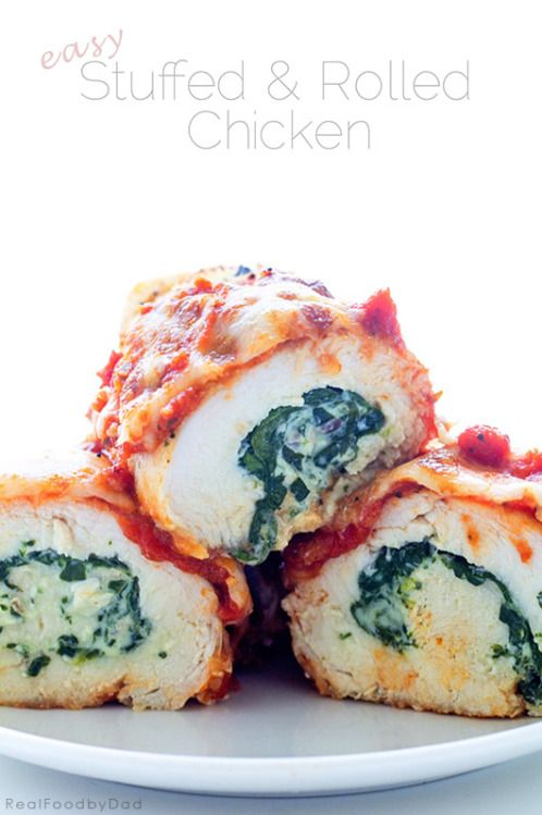 Stuffed and Rolled Chicken with Marinara Sauce, Cream Cheese and Spinach... easy AND so yummy