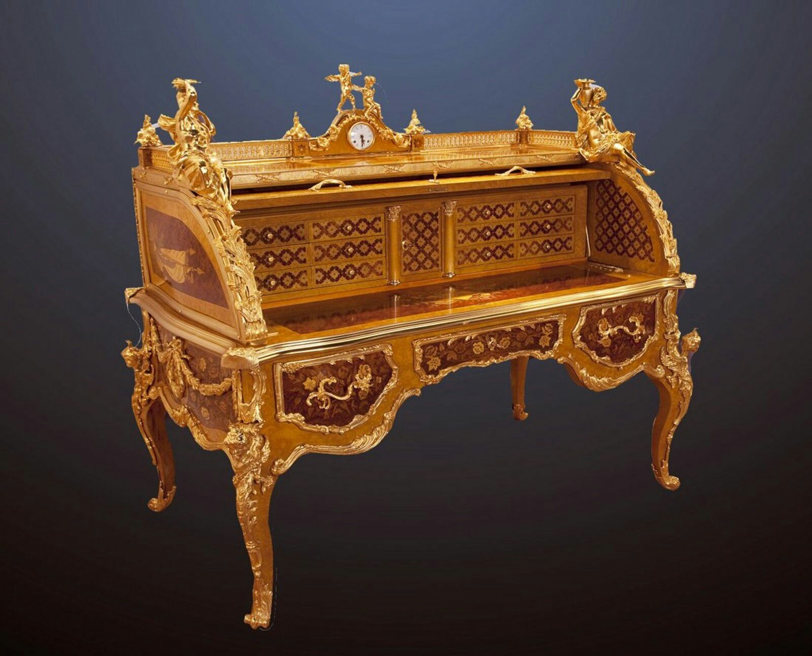 Monumental French Louis Xv Inlaid Cylinder Desk 64 W X 60 H X 39  ~ Como Restaurar Muebles Antiguos Manual Basico Para Principiantes