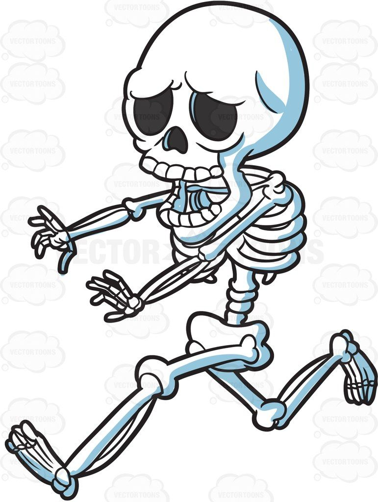 A skeleton running away in horror cartoon clipart