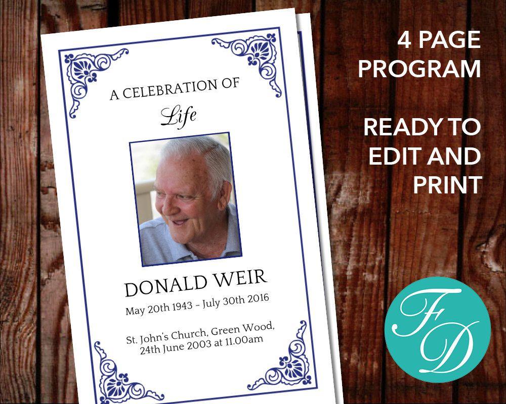 Blue traditional funeral program template for men