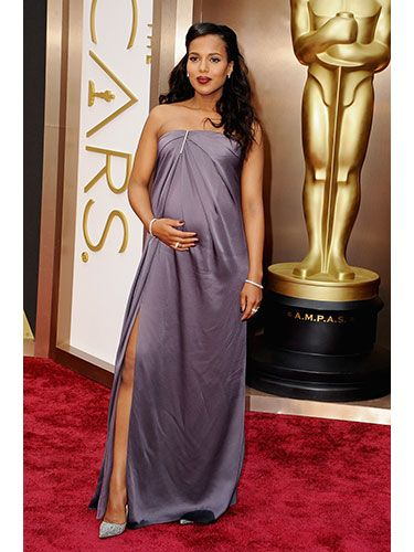 Kerry Washington Pregnancy's a great time to show a whole lot of leg, and the Scandal star knew it when she chose this silky, draped Jason Wu gown.   Read more: Oscars 2014 Best Dressed - Academy Awards Best Dressed - Redbook  Follow us: @REDBOOK Magazine on Twitter | REDBOOK on Facebook  Visit us at Redbook.com