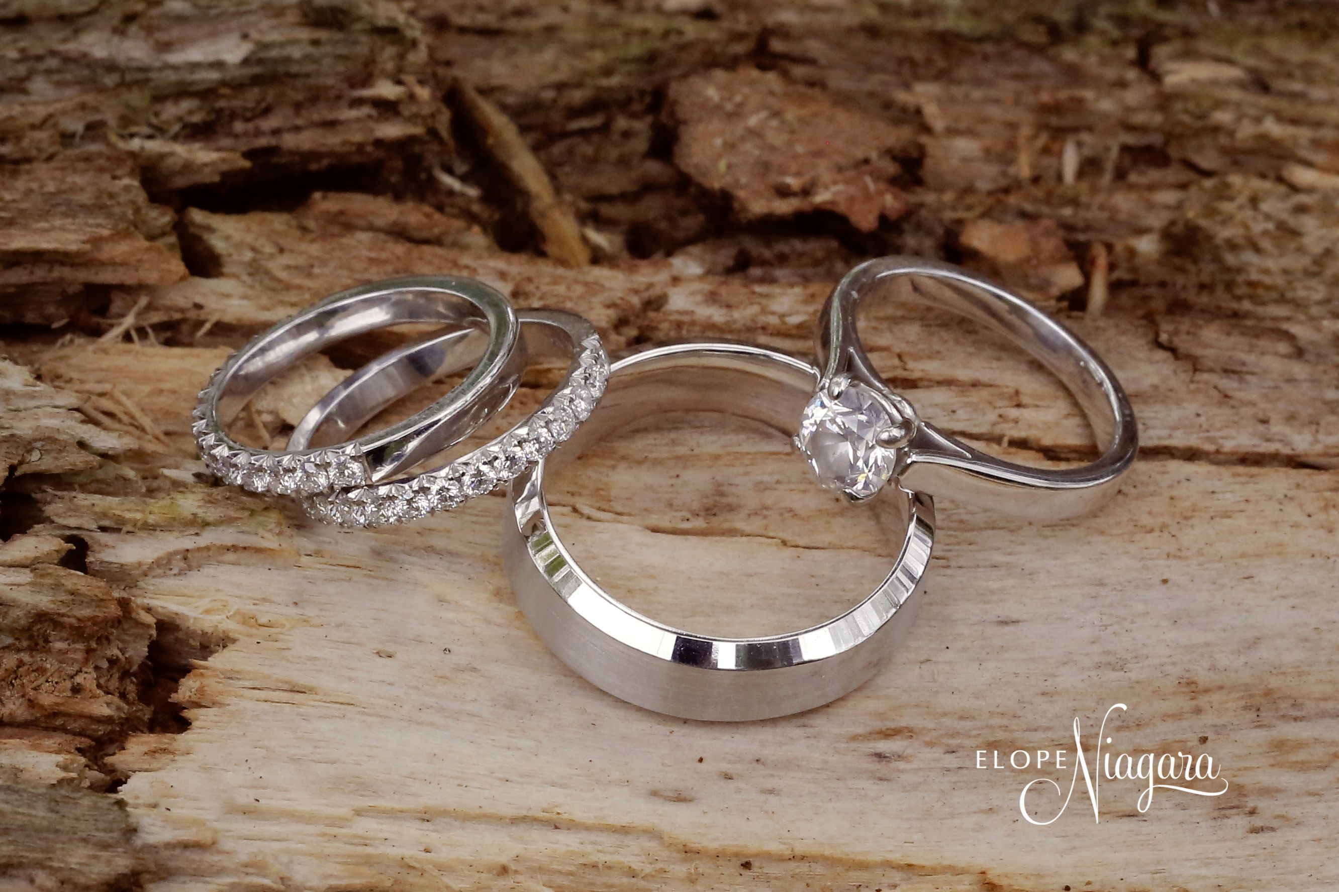 This Amazing Set Was United At The Little Log Wedding Chapel In Niagara Falls Canada Wedding Rings Silver Rings Bling