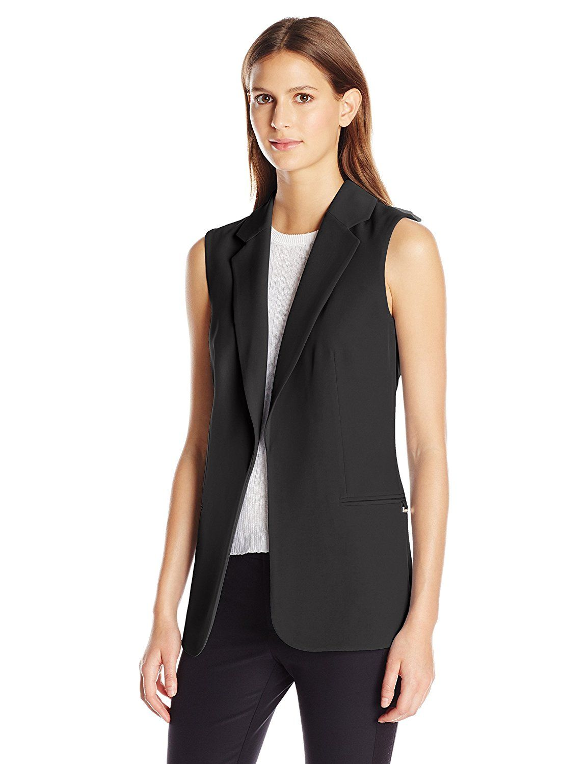 b8c6607ae5f4 Calvin Klein Women's Soft Suiting Vest at Amazon Women's Clothing store: