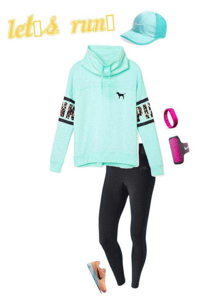 """""""Running outfit"""" by hjpnosser ❤ liked on Polyvore featuring NIKE, Victoria's Secret PINK and Fitbit"""
