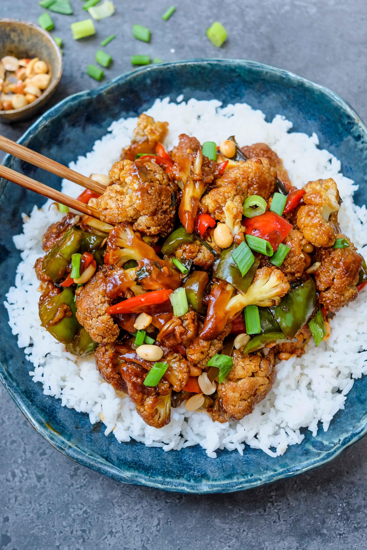 Vegan Kung Pao Style Cauliflower Vegan Cauliflower Recipes Cauliflower Recipes Healthy Snacks Recipes
