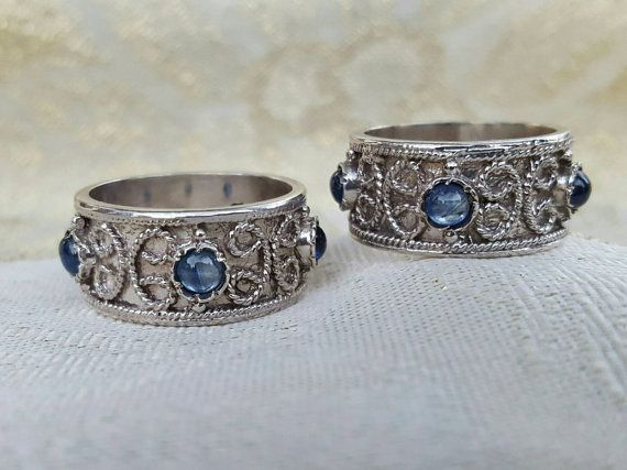Unique Italian Renaissance Wedding Bands Set Matching His and Hers Designer Wedding Rings Sterling Silver with Genuine Cabochon Cut Sapphires