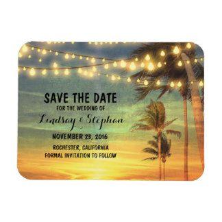 Modern Beach Wedding Save The Date Rectangular Photo Magnet