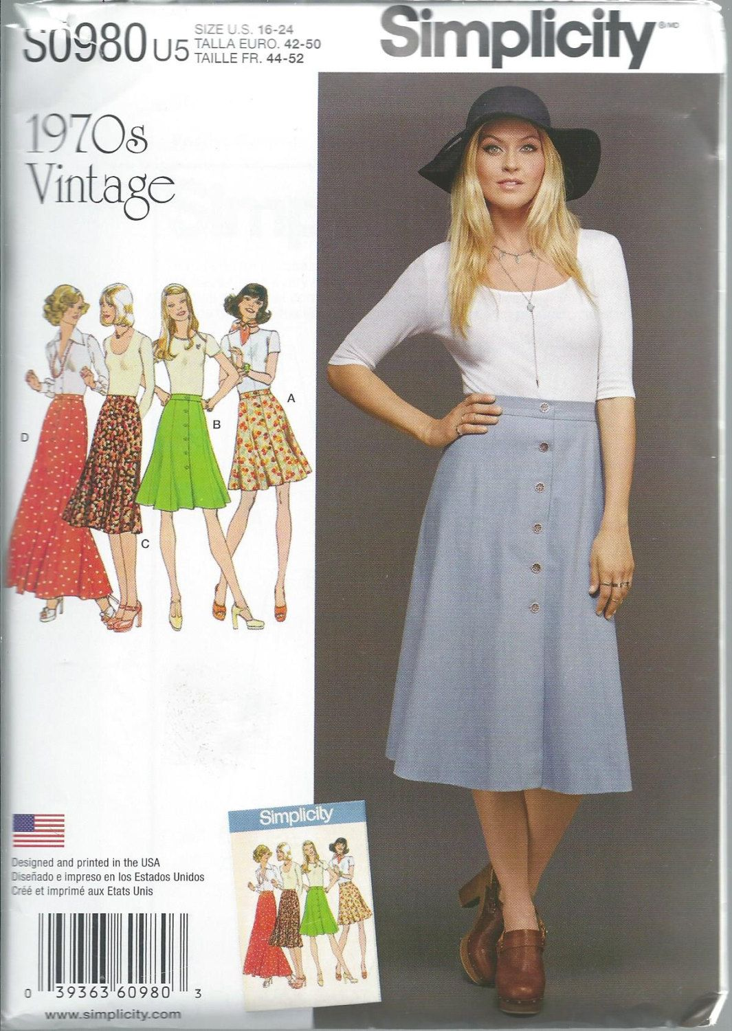 Simplicity 8142, Misses, Skirts, Gored Skirt, S0980, Miss, Maxi ...