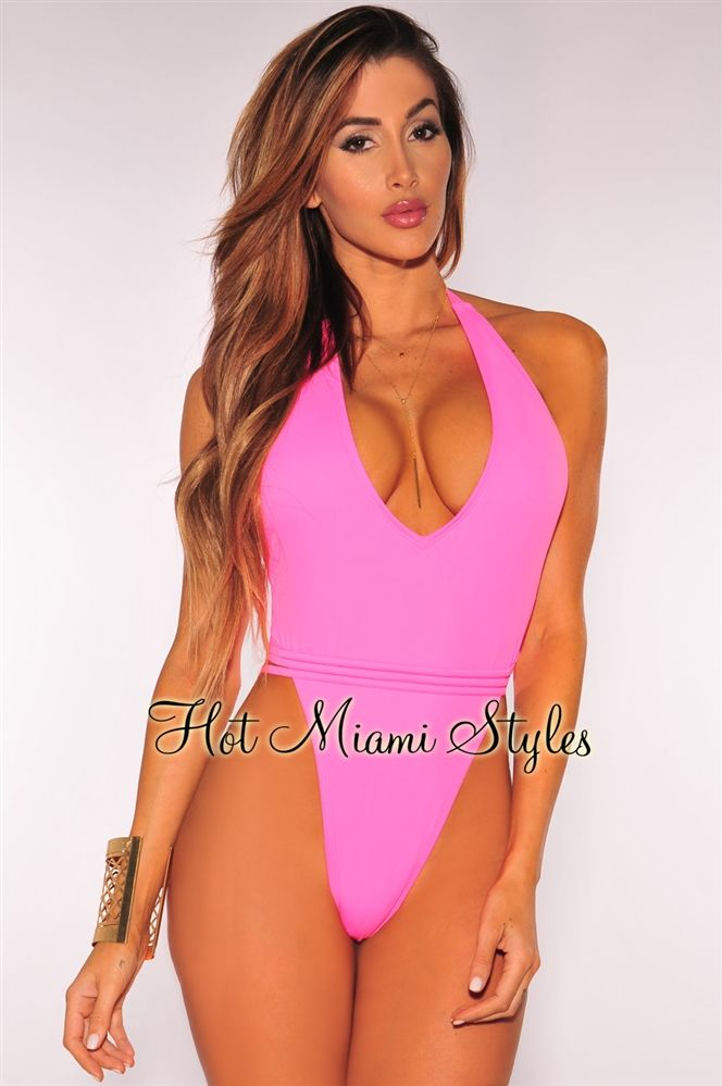 05779510e3d Hot Pink Strappy Halter High Cut Swimsuit ( front )