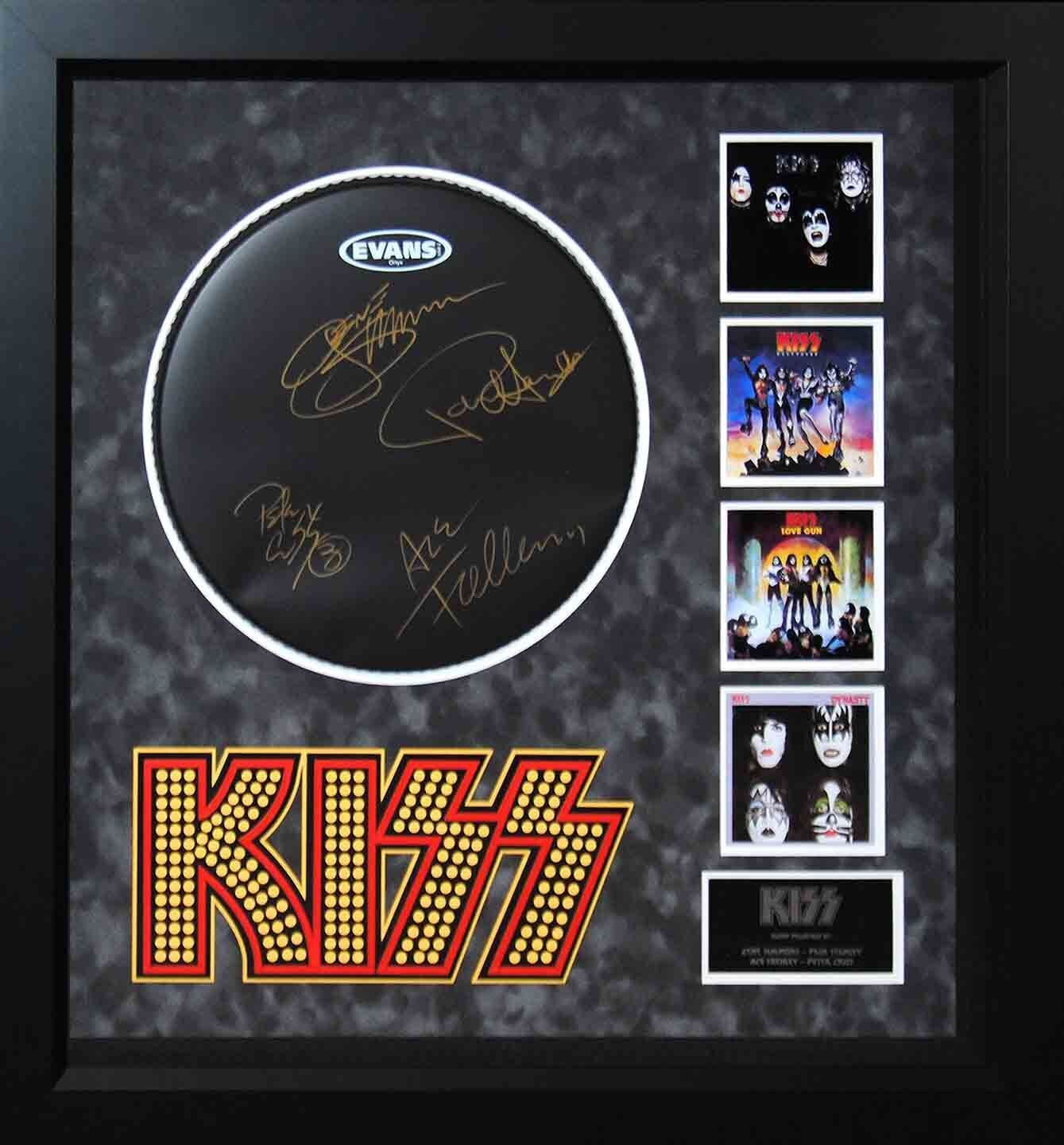 Kiss Signed Drumhead - Wood Framed Case