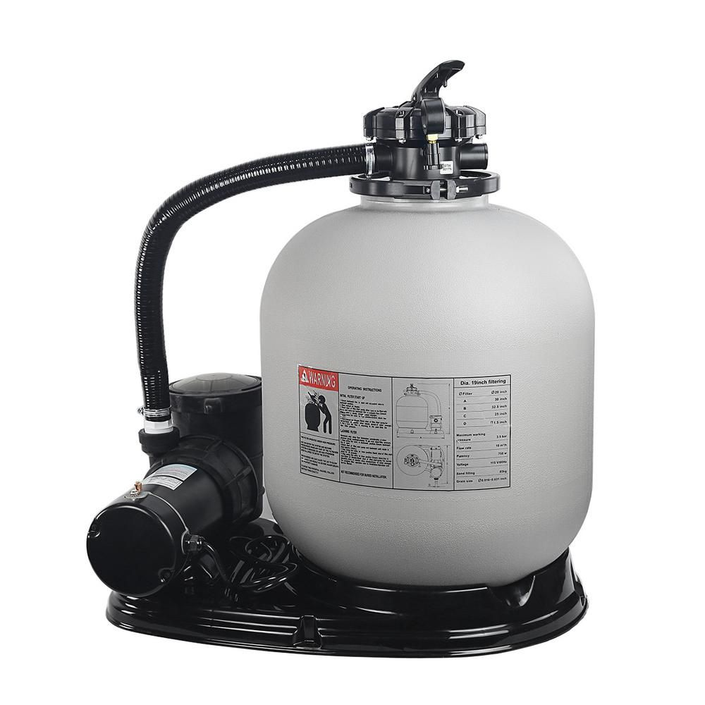 Xtremepowerus 19 In Sand Filter System With 1 5 Hp 4500 Gph Swimming Pool Pump 75032 The Home Depot Pool Pump Pool Filters Swimming Pools